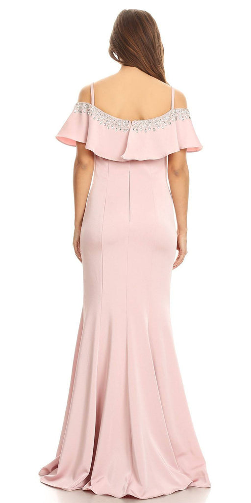 Embellished Cold-Shoulder Long Prom Dress Dusty Pink