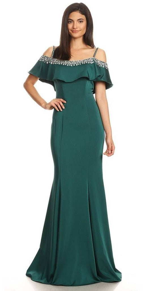 Embellished Cold-Shoulder Long Prom Dress Hunter Green