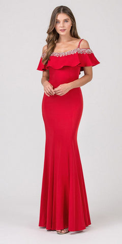 Eureka Fashion 7333 Embellished Cold-Shoulder Long Prom Dress Red