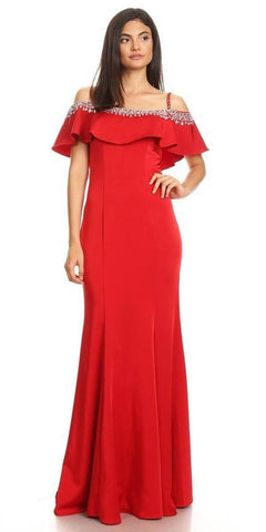 Embellished Cold-Shoulder Long Prom Dress Red