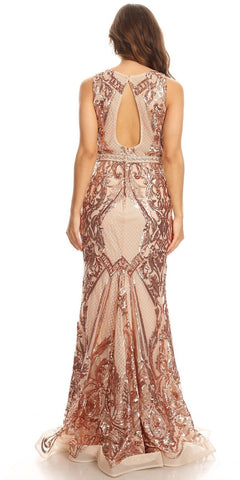 Rose Gold Sequins Mermaid Prom Gown Keyhole Back