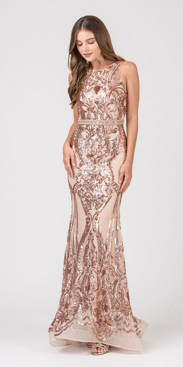 f3554064a2 Eureka Fashion 7335 Rose Gold Sequins Mermaid Prom Gown Keyhole Back ...