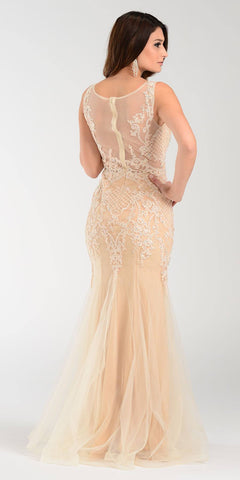 Poly USA 7338 Mermaid Silhouette Prom Dress Champagne Sheer Neck Back View