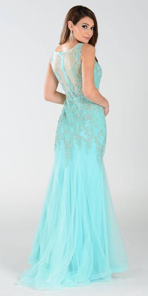 Poly USA 7338 Mermaid Silhouette Prom Dress Mint Sheer Neck Back View