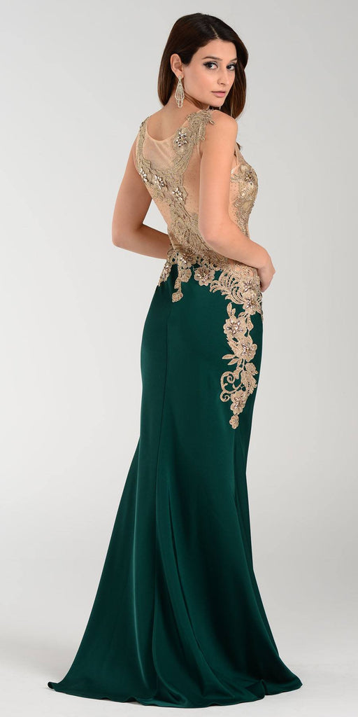 Poly USA 7344 Span Satin Long Prom Dress Emerald Embroidered Top Back View