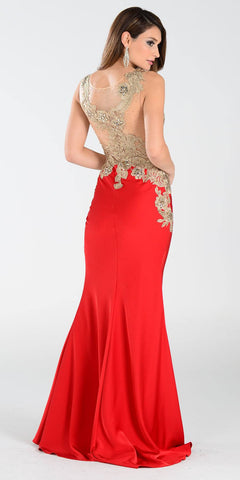 Poly USA 7344 Span Satin Long Prom Dress Red Embroidered Top Back View