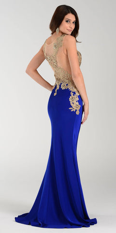 Poly USA 7344 Span Satin Long Prom Dress Royal Blue Embroidered Top Back View