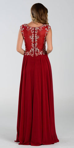 Poly USA 7354 Empire Waist Long Chiffon Burgundy Gown Cap Sleeve Back View