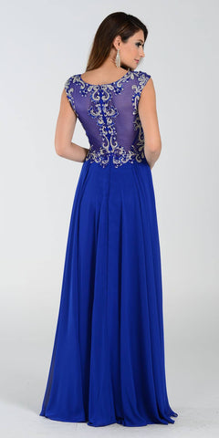 Poly USA 7354 Empire Waist Long Chiffon Royal Blue Gown Cap Sleeve Back View