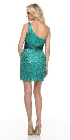 Studded One Shoulder Sequin Teal Short Cocktail Dress Back