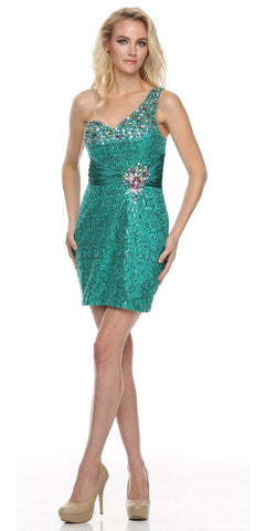 Studded One Shoulder Sequin Teal Short Cocktail Dress