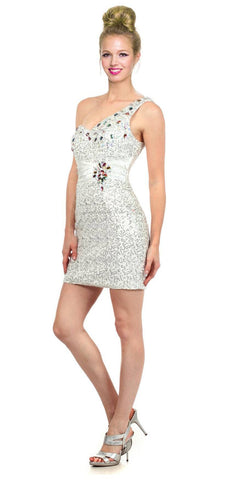 Studded One Shoulder Sequin White Short Cocktail Dress