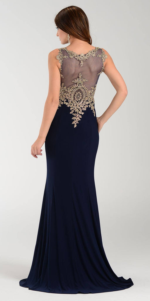 Poly USA 7364 Sheath Column Prom Dress Navy Blue Long Lace Appliques Back View