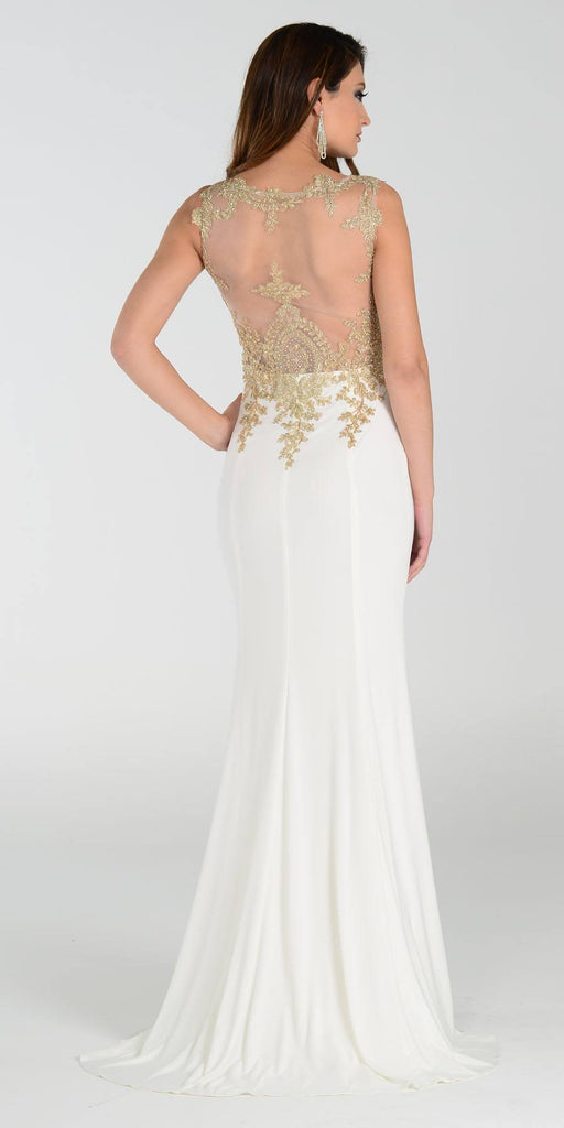 Poly USA 7364 Sheath Column Prom Dress Off White Long Lace Appliques Back View