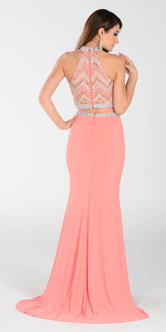Poly USA 7366 Long 2 Piece Prom Gown Coral Choker Neck Strap Back View