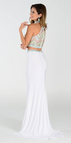 Poly USA 7366 Long 2 Piece Prom Gown Off White Choker Neck Strap Back View