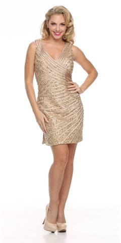 V Neckline Sleeveless Sequin Studded Gold Club Cocktail Dress