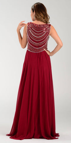Poly USA 7380 Long Greek Chiffon Dress Burgundy A Line Bateau Back View