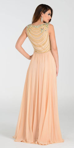 Poly USA 7380 Long Greek Chiffon Dress Champagne A Line Bateau Back View