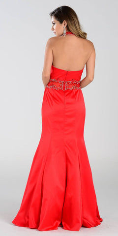 Poly USA 7388 Mermaid Halter Prom Dress Red Choker Strap Back View