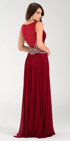 Poly USA 7400 Flowy Chiffon Prom Gown Burgundy V Neckline Empire Back View