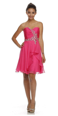Short Semi Formal Fuchsia Dress Overlay Skirt Strapless Ruching