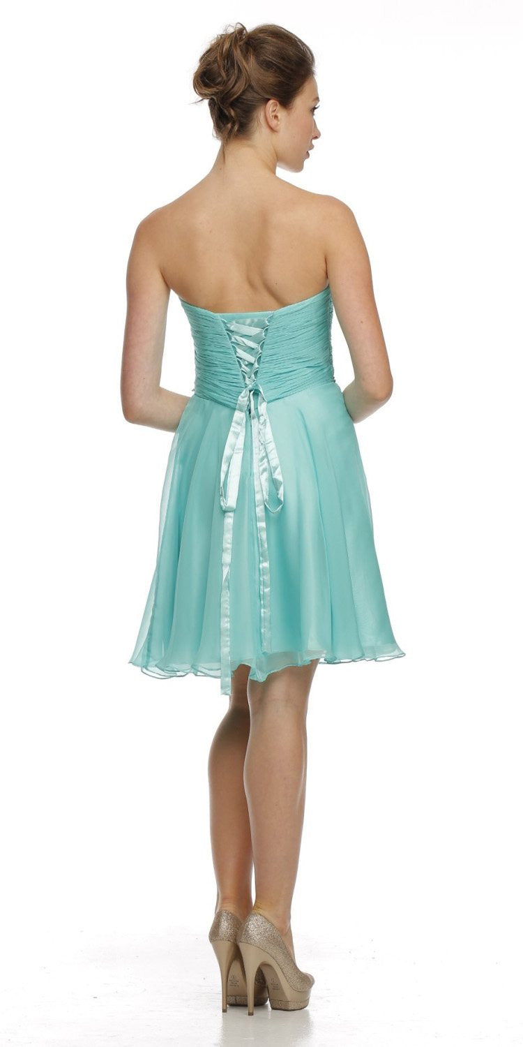 Short Semi Formal Jade Dress Overlay Skirt Strapless Ruching U2013 DiscountDressShop