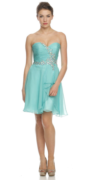 Short Semi Formal Jade Dress Overlay Skirt Strapless Ruching