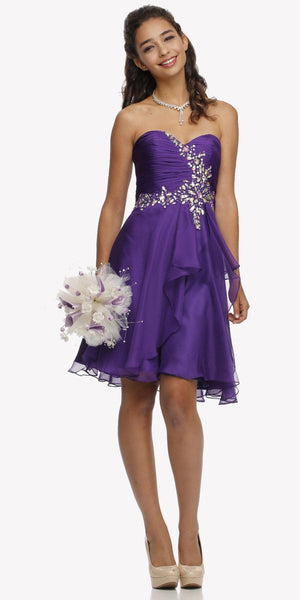 Strapless Ruched Bodice Homecoming Short Dress Purple
