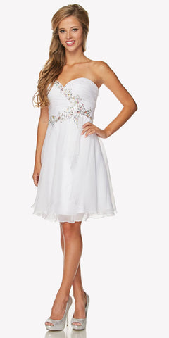 Strapless Ruched Bodice Homecoming Short Dress White