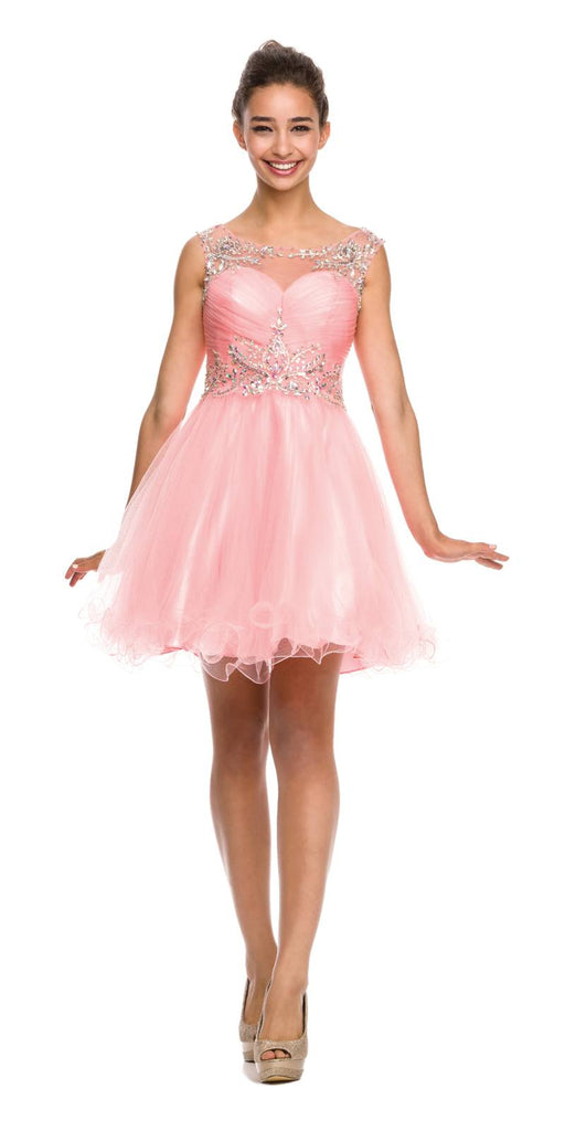 Cap Sleeve Baby Doll Dress Blush Short A Line Poofy Tulle Back