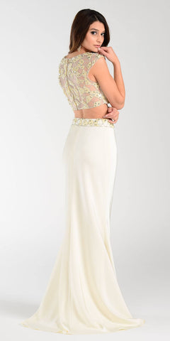 Poly USA 7422 Floor Length 2 Piece Ivory Prom Dress Cap Sleeve Back View