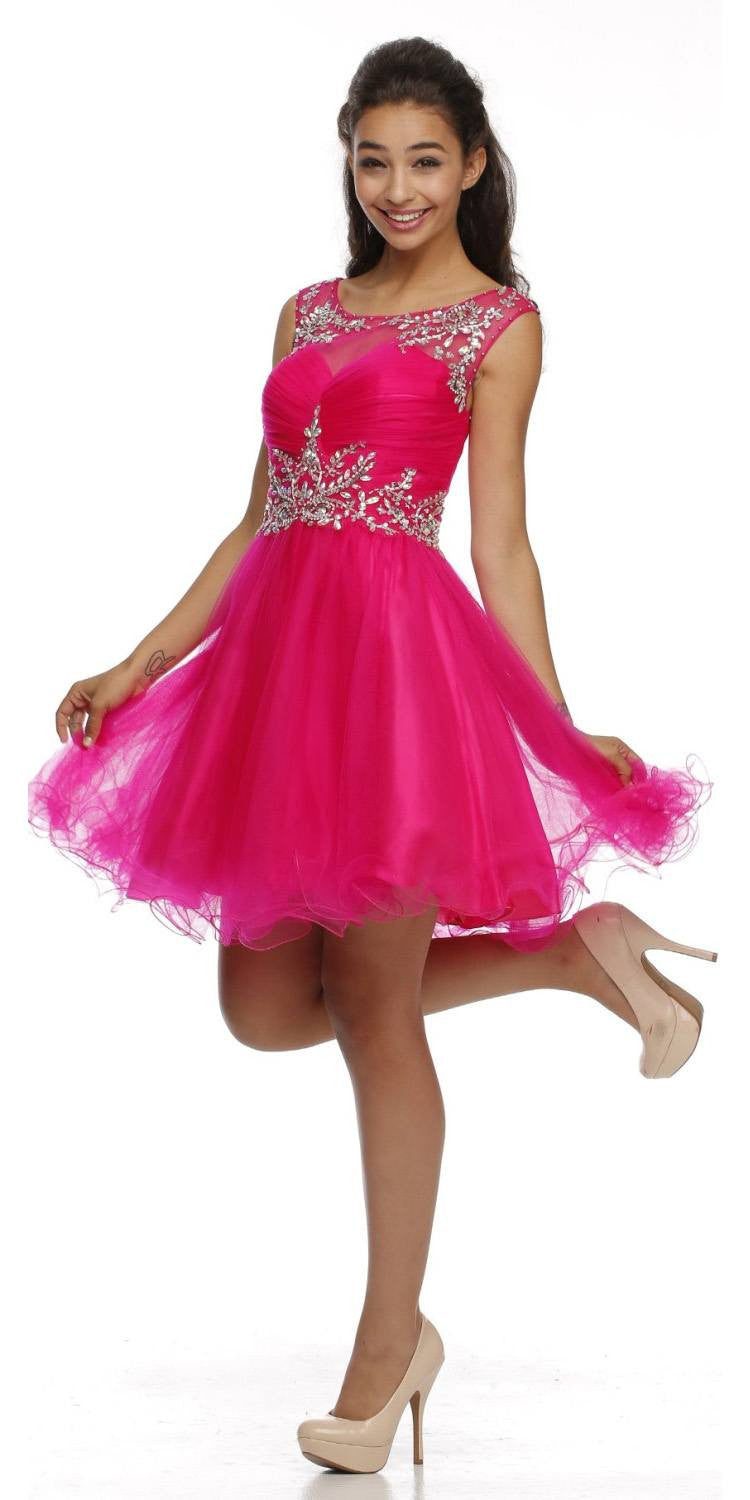 Cap Sleeve Baby Doll Dress Fuchsia Short A Line Poofy Tulle