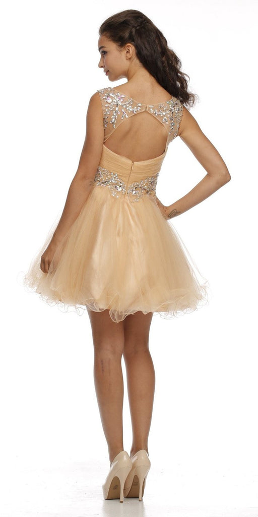 Cap Sleeve Baby Doll Dress Gold Short A Line Poofy Tulle Back