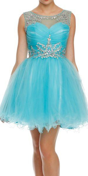 Cap Sleeve Baby Doll Dress Turquoise Short A Line Poofy Tulle
