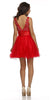 Poofy Tulle Skirt Prom Dress Red Short Tank Straps V Neck