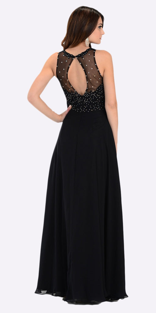 Poly USA 7454 Poly USA 7454 Long Flowy Prom Gown Black Empire Sheer Bodice Back View
