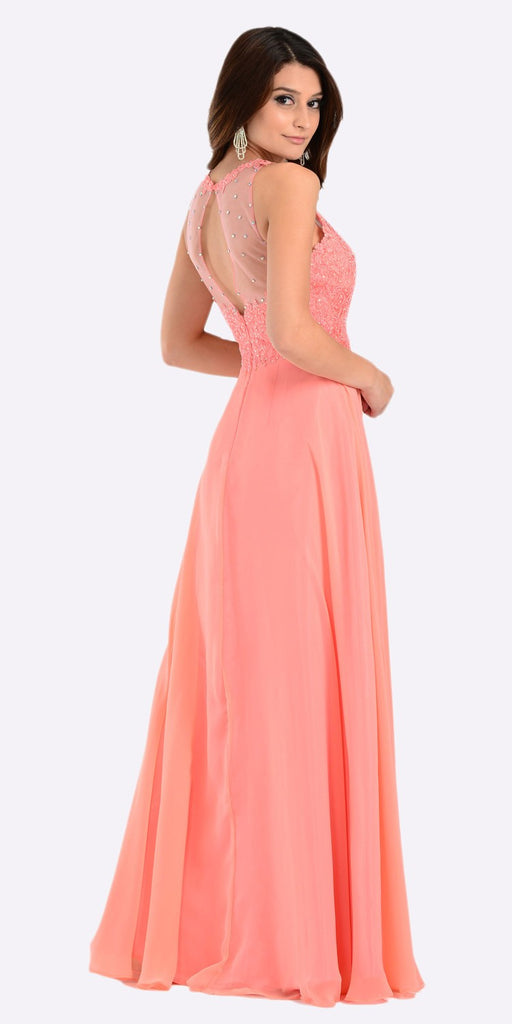 Poly USA 7454 Poly USA 7454 Long Flowy Prom Gown Coral  Empire Sheer Bodice Back View