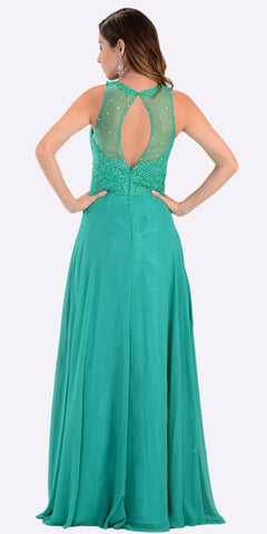 Poly USA 7454 Poly USA 7454 Long Flowy Prom Gown Green Empire Sheer Bodice Back View