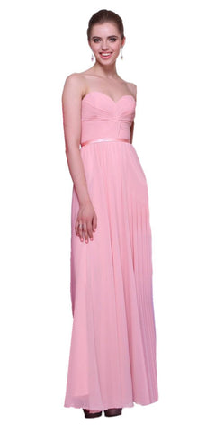 Twisted Bodice Chiffon Blush Bridesmaid Dress Long Strapless