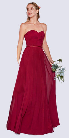 Cinderella Divine 7455 Twisted Bodice Chiffon Burgundy Bridesmaid Dress Long Strapless