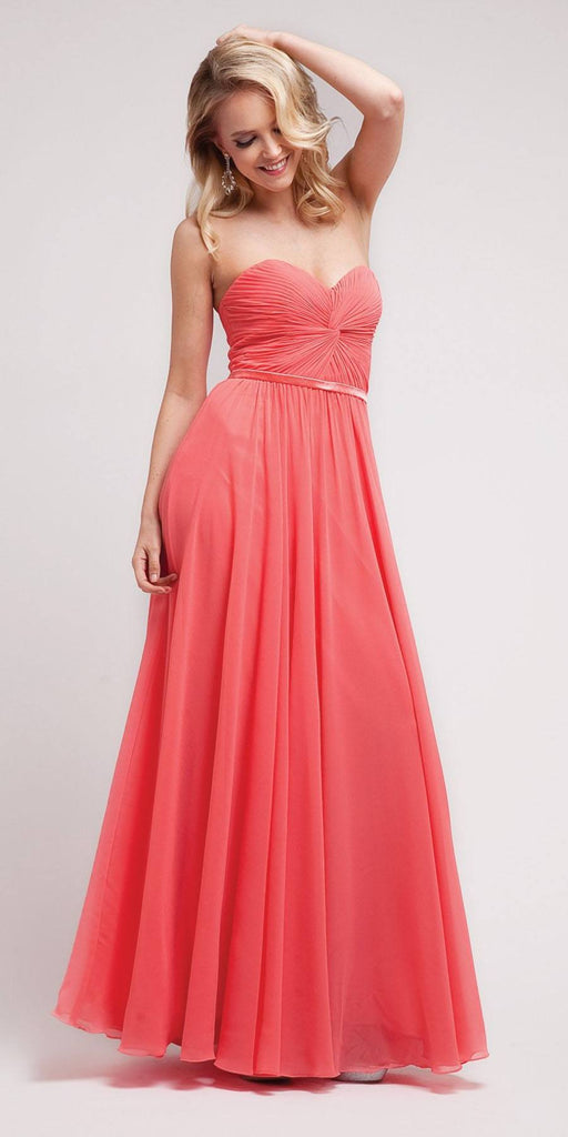 Twisted Bodice Chiffon Coral Bridesmaid Dress Long Strapless