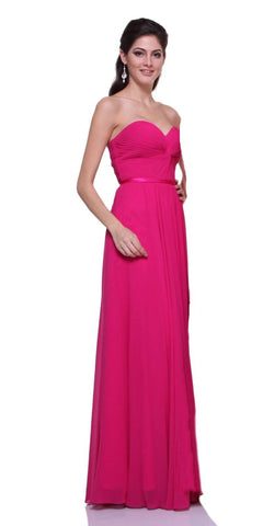 Twisted Bodice Chiffon Magenta Bridesmaid Dress Long Strapless