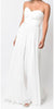 Twisted Bodice Chiffon Off White Bridesmaid Dress Long Strapless