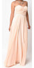Twisted Bodice Chiffon Peach Bridesmaid Dress Long Strapless