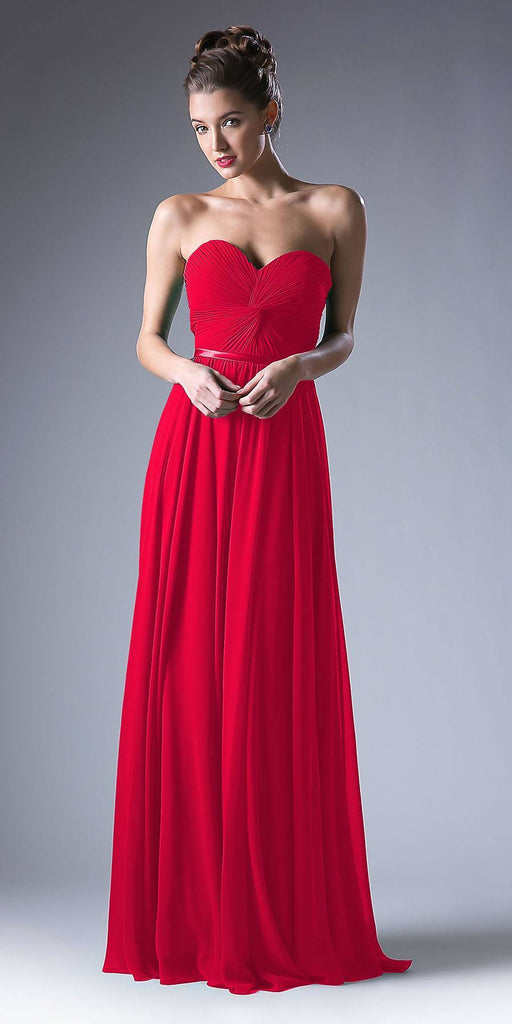 Twisted Bodice Chiffon Red Bridesmaid Dress Long Strapless