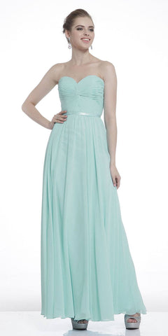 Twisted Bodice Chiffon Sage Green Bridesmaid Dress Long Strapless