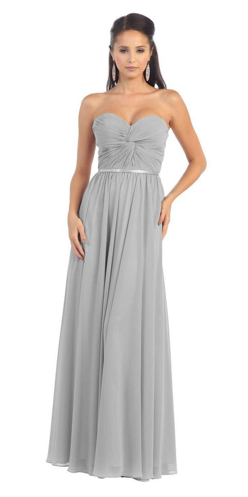 Cinderella Divine 7455 Twisted Bodice Chiffon Silver Bridesmaid Dress Long Strapless