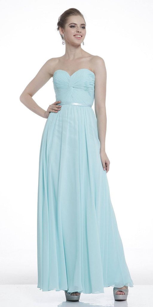 Twisted Bodice Chiffon Sky Blue Bridesmaid Dress Long Strapless