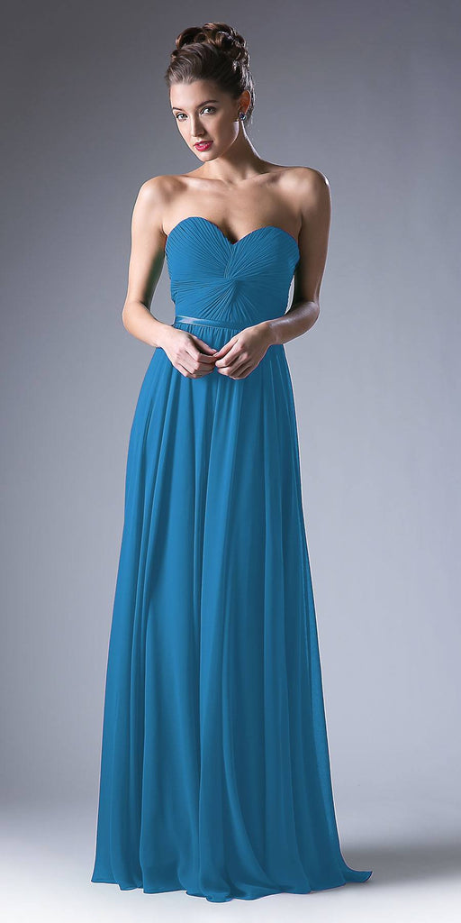 Twisted Bodice Chiffon Teal Bridesmaid Dress Long Strapless